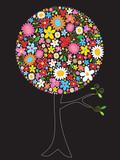 Fototapety spring flowers pop tree - illustrated art