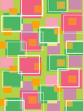 fun retro cubes green and pink - illustrated background