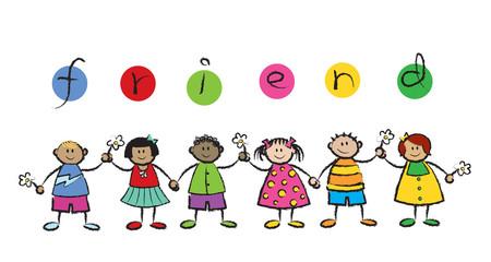 We are FRIENDS! - cartoon illustration of multi racial kids