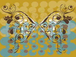 vintage grunge brown butterfly swirl - illustration