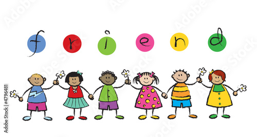 We are FRIENDS! - cartoon illustration of multi racial kids