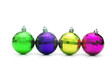 Four christmas balls isolated on the white