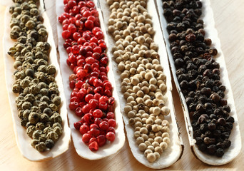 Peppercorns Spices in the sea shells on wood