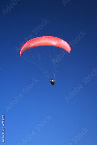 Pink paraglider on the sky