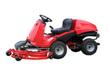 Red Ride-on Lawn Mower with clipping path