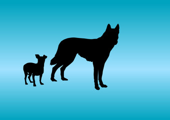 Animals Silhouette - Dog little and big
