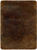Brown scratched leather texture with stiched edges poster