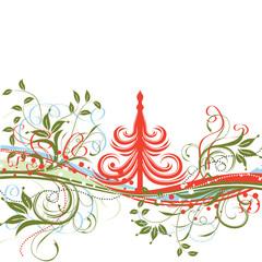 Christmas tree, winter background, vector illustration