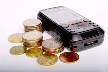 cellphone, business,money,dollar,euro coins