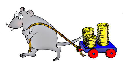 rat pulled small cart with coins