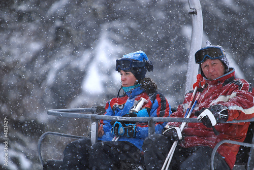 winter fun on a chair lift