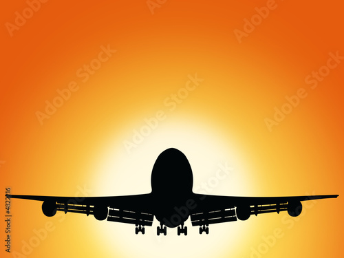 canvas print picture airplane and sunset