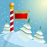 Fototapety Christmas. North Pole sign with copyspace