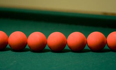 Multiple red pool balls