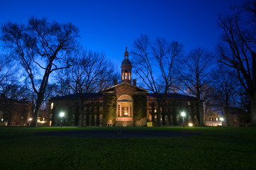 Campus buildings in Princeton University at night