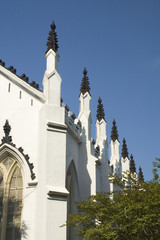 side of a white old-fashioned church