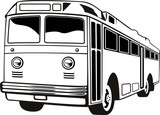 Retro style coach bus poster