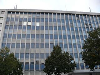Façade de bureaux, verre et béton, Paris