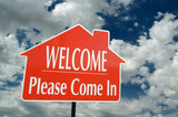 Welcome, Please Come In Real Estate Sign with Clouds poster