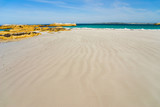 Beautiful streaky beach leading to rocky headland poster