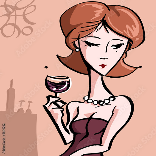 Woman with glass of fine wine