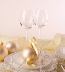 Festive table setting for Christmas