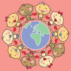 cartoon multi racial babies around the world - AFRICA and EUROPE