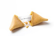 isolated broken fortune cookie w/  message slip