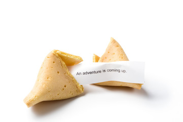 isolated broken fortune cookie w/ message