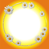 Oval framework decorated by white flowers poster