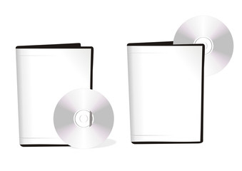 Two boxes with dvd disks of white color