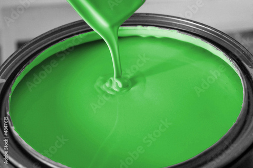 bucket of green paint