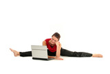 Woman doing a split and using laptop poster