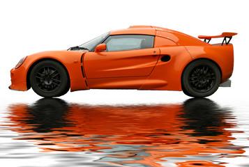 orange reflecting sportcar