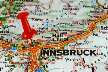 Innsbruck marked on map