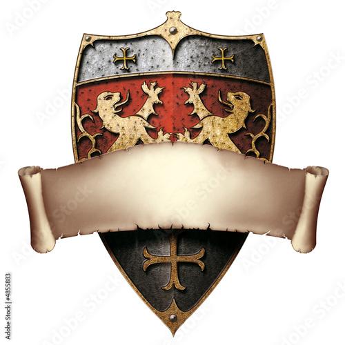 Schild Wappen Löwenherz mit Banderole