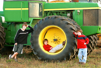 Boys and a Large Tractor
