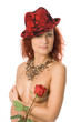 beauty naked woman in hat with rose