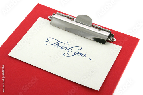 clipboard and thank you note