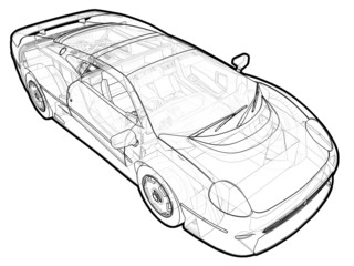 A schematic illustration of the Jaguar XJ220.