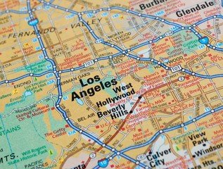 Map centered on Los Angeles and Hollywood