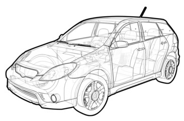 Perspective view illustration of a Toyota Matrix.