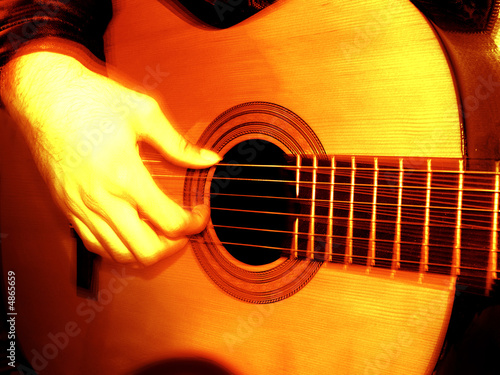 close up hand playing guitar