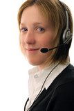 Woman call centre operator with headset poster