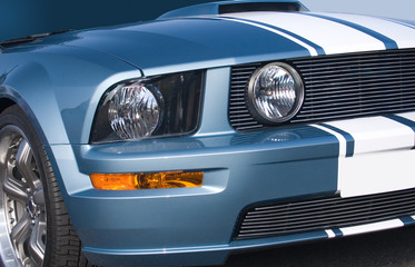 Metallic blue modern American muscle car