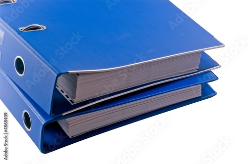 Blue file binder - isolated object