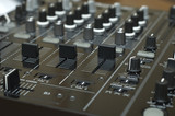 close up mixing equipment buttons detailed audio tool poster
