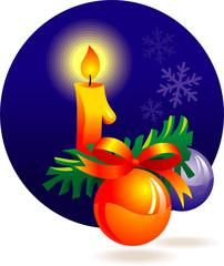 Christmas decoration - candle, baubles