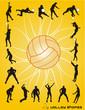 siluetas de personas jugando voleibol en vector