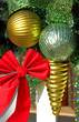 Christmas decorations and red ribbon